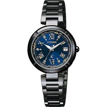 CITIZEN XC 40週年限量鈦電波女錶-藍x黑/28mm EC1116-56L