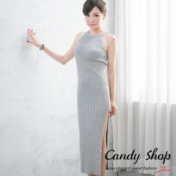 Candy 小鋪        最佳熱銷商品 性感合身側邊開叉羅紋針織削肩長洋裝(灰/黑/藍/粉/酒紅)-0097832