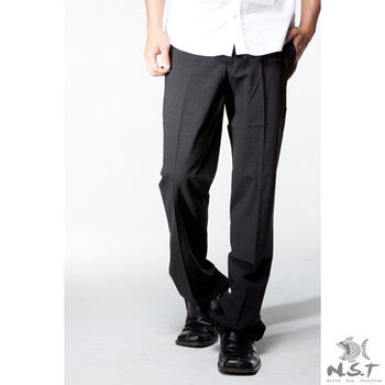 【NST Jeans】390(5506) WL純黑 萊卡羊毛西裝褲 (中腰) 斜口袋/羊毛/微彈/萊卡/黑色西褲/無打摺西褲