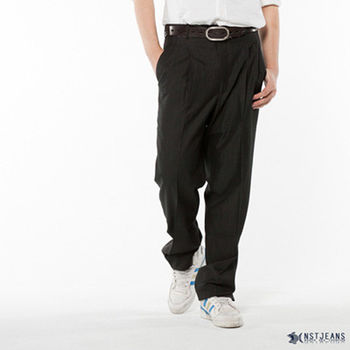 【NST Jeans】002(8892) 風尚黑 羊毛x聚酯纖維 打摺西裝長褲(中高腰寬版)打摺西褲/6折出清