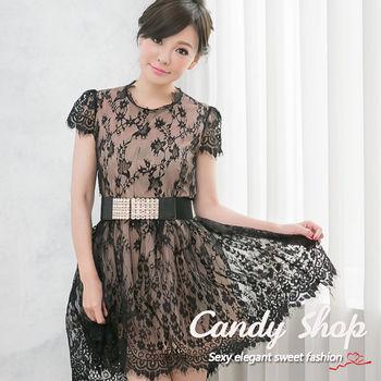 Candy 小鋪     時尚名媛質感蕾絲透膚光感連身洋裝-0097809