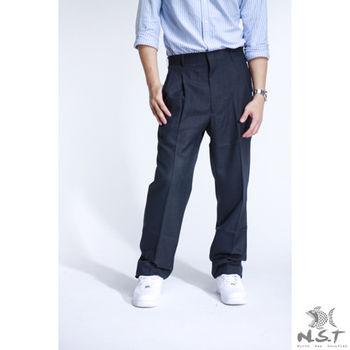 【NST Jeans】002(8891) 微細條紋系列 羊毛x聚酯纖維 打摺西裝褲(中高腰寬版) 羊毛/抗皺/打摺西褲/6折出清