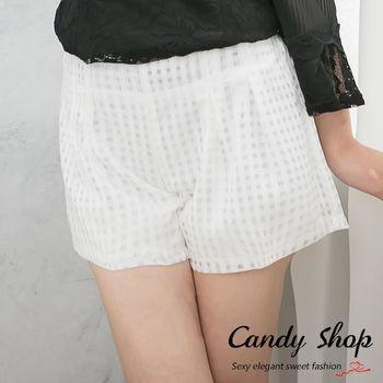 Candy 小鋪     透膚感彈性鬆緊褲頭格紋短褲(黑/白)-0094356