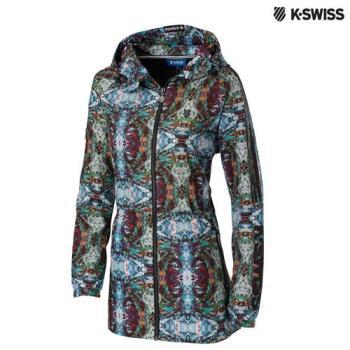 K-Swiss Print Long Windbreaker風衣外套-女-印花
