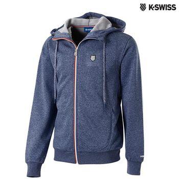 K-Swiss Hoddie連帽運動外套-男-單寧藍