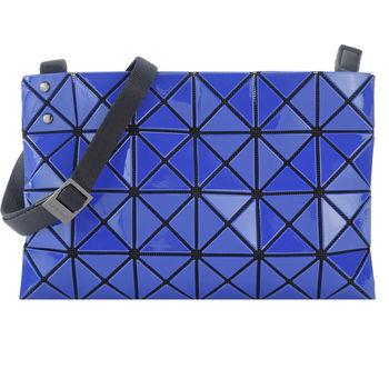ISSEY MIYAKE 三宅一生BAOBAO 幾何方格亮面4x6小斜背包(藍)