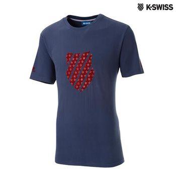 K-Swiss Graphic Tee印花短T恤-男-單寧藍