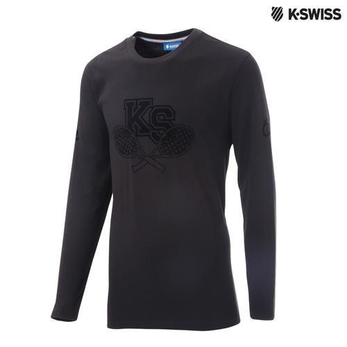 K-Swiss Graphic LS Tee印花長袖T恤-男-黑