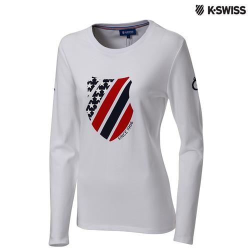 K-Swiss Graphic LS Tee印花長袖T恤-女-白