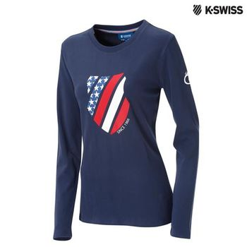 K-Swiss Graphic LS Tee印花長袖T恤-女-單寧藍