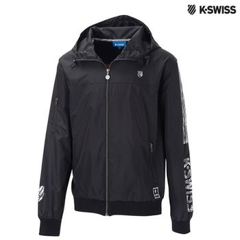 K-Swiss Print Windbreaker風衣外套-男-黑