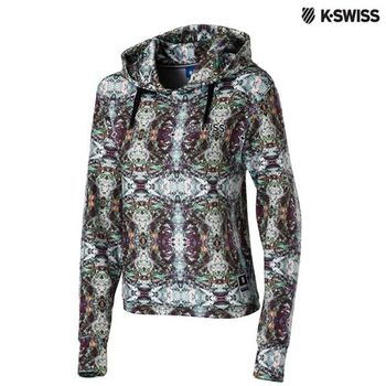 K-Swiss Allover Print Hoodie印花連帽上衣-女-印花