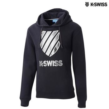 K-Swiss Logo Hoodie印花連帽上衣-男-黑
