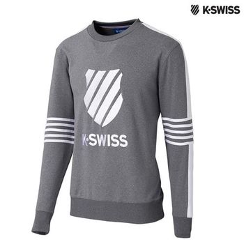 K-Swiss Pullover長袖上衣-男-炭灰
