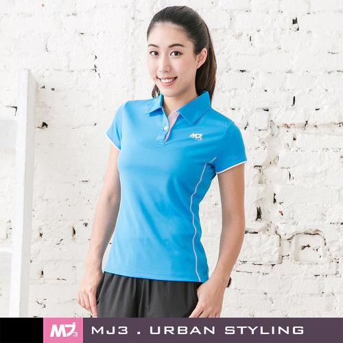 【MJ3】剪接袖配線吸排POLO衫-女(天空藍)