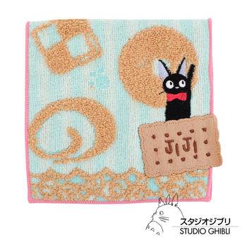 吉卜力 魔女宅急便口袋小方巾/收納包(條紋餅乾藍)