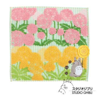 吉卜力 Totoro龍貓純棉小方巾/手帕(綠地花叢)