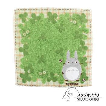 吉卜力 Totoro龍貓純棉小方巾/手帕(幸運草)