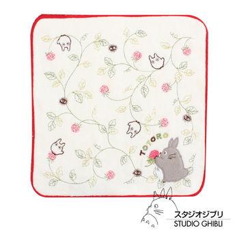 吉卜力 Totoro龍貓純棉小方巾/手帕(白玫瑰)
