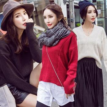 【理子時尚】素色簡約V領寬鬆短版毛衣(共三色)