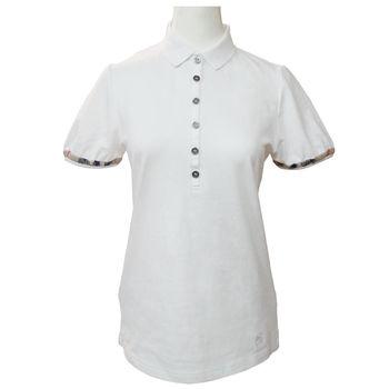 BURBERRY 六扣公主袖POLO衫-白色M