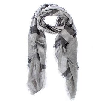 BURBERRY 混羊毛格紋方形圍巾-灰黑色