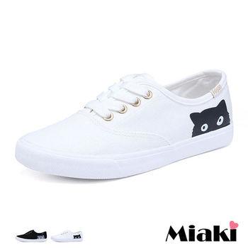 【Miaki】休閒鞋韓甜美貓咪帆布平底懶人包鞋 (白色 / 黑色)