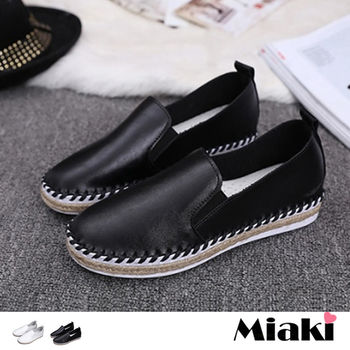 【Miaki】休閒鞋韓皮革草編車線平底懶人包鞋 (白色 / 黑色)