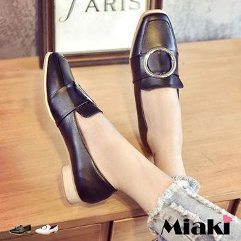 【Miaki】休閒鞋都會簡約時尚方頭低跟懶人包鞋 (白色 / 黑色)