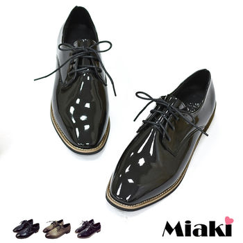 【Miaki】休閒鞋英倫牛津紳士方頭低跟包鞋 (亮黑色 /霧棕色 / 霧黑色)