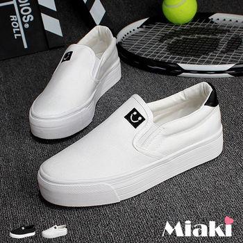 【Miaki】休閒鞋韓妞可愛活潑微笑拼接厚底懶人包鞋 (白色 / 黑色)