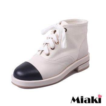 【Miaki】短靴韓國簡約異材質拼接綁帶圓頭低跟包鞋 (杏色)