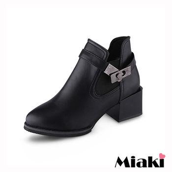 【Miaki】踝短靴韓國率性皮革金屬鈕扣低跟包鞋 (黑色)