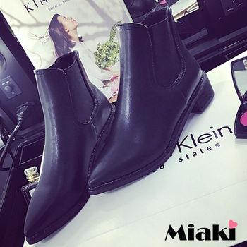 【Miaki】短靴歐美時尚個性皮革尖頭低跟包鞋 (黑色)