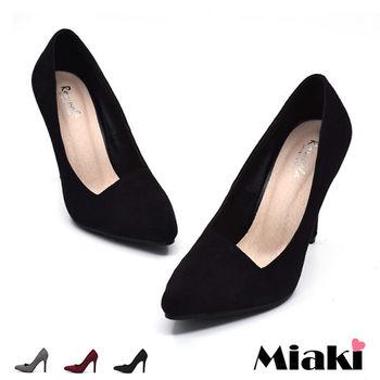 【Miaki】高跟鞋韓氣質都會金蔥時尚尖頭包鞋 (灰色 / 紅色 / 黑色)