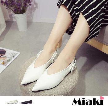 【Miaki】休閒鞋韓典雅鈕扣尖頭平底包鞋 (白色 / 黑色)