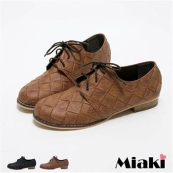 【Miaki】MIT 休閒鞋英倫復刻菱格皮質低跟包鞋(咖啡色 / 黑色)