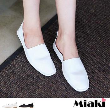 【Miaki】休閒鞋韓率性皮質兩穿式平底懶人包鞋 (白色 / 黑色)