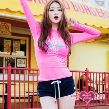 天使霓裳 泳衣 粉紅甜心 兩件式長袖泳裝(桃紅M~XL)