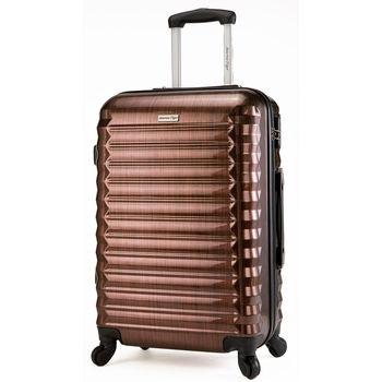 【America Tiger】銀紅髮絲紋行李箱(24吋)