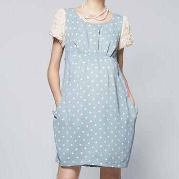 ohoh-mini孕婦裝花之心語圓點花朵公主袖孕婦洋裝