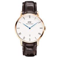 DW Daniel Wellington Dapper深棕鱷魚紋皮革腕錶 ^#45 金框