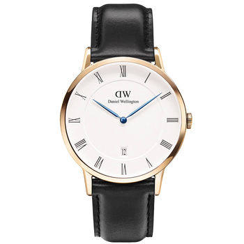 DW Daniel Wellington Dapper時尚黑色皮革腕錶-金框/38mm(1101DW)