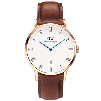 DW Daniel Wellington Dapper時尚棕色皮革腕錶-金框/38mm(1100DW)
