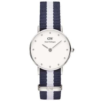 DW Daniel Wellington 經典藍白帆布水鑽女錶-銀框/26mm(0928DW)