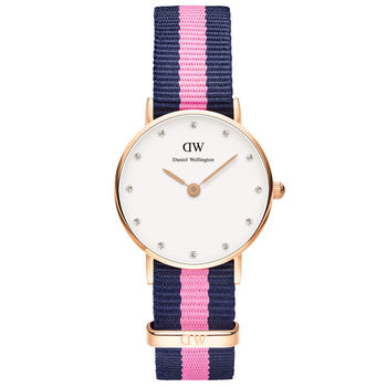 DW Daniel Wellington 經典藍粉紅帆布水鑽女錶-金框/26mm(0906DW)