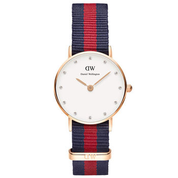 DW Daniel Wellington 經典藍紅帆布水鑽女錶-金框/26mm(0905DW)