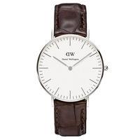 DW Daniel Wellington 深咖啡鱷魚紋腕錶~銀框 36mm 0610DW