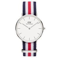 DW Daniel Wellington 藍白紅帆布 女錶~銀框 36mm 0606DW