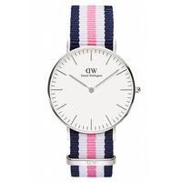 DW Daniel Wellington 藍白粉紅帆布 女錶~銀框 36mm 0605DW